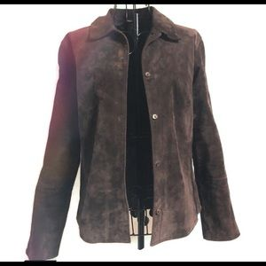 Suede brown shirt/jacket with embroidered detail